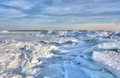 Lake erie ice huge chunks of fresh water on eire in northwest ohio beautiful winter scene Stock Photos