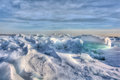 Lake erie ice huge chunks of fresh water on eire in northwest ohio beautiful winter scene Royalty Free Stock Image