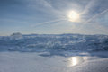 Lake erie ice sunrise huge chunks of fresh water on eire in northwest ohio beautiful winter scene Stock Image