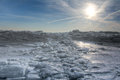 Lake erie ice sunrise huge chunks of fresh water on eire in northwest ohio beautiful winter scene Stock Photography