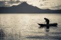 Lake fisherman on Boat Silhouette Royalty Free Stock Photo