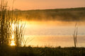 Lake and fog over in beautiful golden morning light Royalty Free Stock Photo