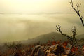 Lake in the fog panoramic autumn view of from hilltop primorsky region russia Royalty Free Stock Images