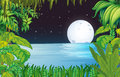 A lake in the forest under the bright fullmoon illustration of Royalty Free Stock Image
