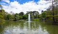 Lake with fountain in Retiro Park in Madrid Royalty Free Stock Photo