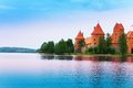 Lake galve and trakai castle walls famous place in lithuania Royalty Free Stock Images