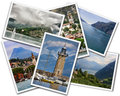 Lake garda collage of photographs depicting landmarks isolated on white background Stock Image