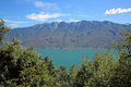 Lake garda view to malcesine and monte baldo italy Stock Photography