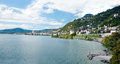 Lake geneva and montreux in switzerland view from the chillon castle Royalty Free Stock Photos
