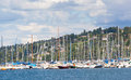 Lake geneva yachts in a marine on Stock Photography