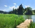Lake geroldsee with wooden boardwalk idyllic Royalty Free Stock Photo