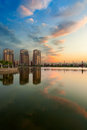 The lake glow clouds daqing city heilongjiang province china Royalty Free Stock Images