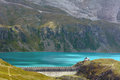 Lake goillet aosta valley italy view of the dam of the artificial Royalty Free Stock Photo
