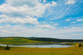 Lake and green grass under the blue sky and white clouds north china Royalty Free Stock Photography