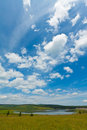 Lake and green grass under the blue sky and white clouds north china Royalty Free Stock Images