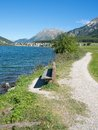 Lake haidersee south tyrol italy idyllic place at reschenpass vinschgau trentino alto adige Royalty Free Stock Image