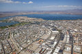 Lake havasu arizona with an aerial view of the city center marina and the london bridge Stock Photography