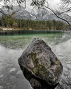 Lake hintersee with alps in background berchtesgaden germany bavaria Royalty Free Stock Photo