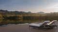 Lake house terrace and beautiful nature view 3d rendering image Royalty Free Stock Photo