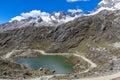 Lake huaraz national park huascaran andes peru at the in peruvian Stock Image