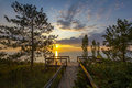 Lake huron boardwalk at sunset leading to a pinery provincial park ontario canada Stock Image