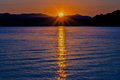 Lake jocassee sunrise at upstate south carolina mountains Royalty Free Stock Photos