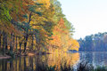 Lake Johnson in Raleigh, NC during fall season Royalty Free Stock Photo