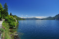 Lake lago maggiore italy scenic landscape view by sunny weather and blue sky Stock Image