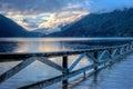 Lake landscape at sunset Royalty Free Stock Photo