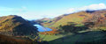 Lake landscape in welsh valley taly y llyn a rural wales Stock Images