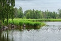 Lake during a light drizzle or rainfall sweden Stock Image