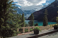 Lake louise banff national park alberta canada viewed from the chateau patio is just off the icefields parkway Royalty Free Stock Photography
