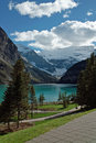 Lake louise banff national park alberta canada viewed from the chateau patio is just off the icefields parkway Royalty Free Stock Photo