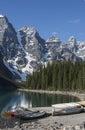 Moraine Lake Canoes Royalty Free Stock Photo