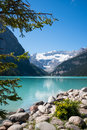 Lake louise and glacier vertical image of turquoise mount victoria with its banff national park alberta canada vertical copy space Royalty Free Stock Photography