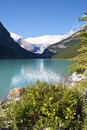 Lake louise summer a beautiful and sunny view of the amazing in the canadian rockies Stock Images
