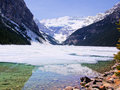 Lake louise view of the famous with snow in early spring Royalty Free Stock Photography