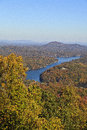Lake lure in the fall season mountains of north carolina hickory nut gorge area Stock Photos
