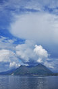 Lake maggiore italy spring sky blue and white clouds over lago Royalty Free Stock Image