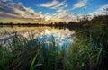 Lake Massaciuccoli at sunset Stock Photo