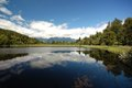 Lake matheson reflections in summer west coast south island new zealand Stock Photo