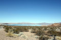 Lake mead desert landscape with and mountains Stock Photography