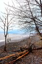 Racine Wisconsin Lake Michigan Shoreline with Waves and Ice Royalty Free Stock Photo