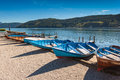 The lake of millstatt rowing boats in am see on alpine austria Royalty Free Stock Photo