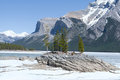 Lake Minnewanka and Canadian Rocky Mountains Royalty Free Stock Image