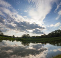 Lake mirror like with dramatic blue sky  clouds Royalty Free Stock Photo
