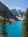 Lake moraine beautiful in alberta canada Royalty Free Stock Images