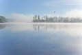 Lake morning fog Royalty Free Stock Images