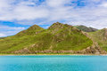 Lake and mountain blue sky green Royalty Free Stock Photography