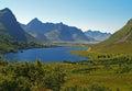 Lake and mountain in lofoten island road Stock Image